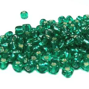 Rocailles, 3,5mm, Smaragd, Silbereinzug, 20g