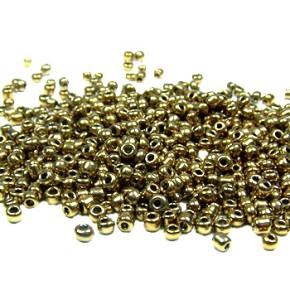 Rocailles, 2mm, opak/lüster, Gold, 20g