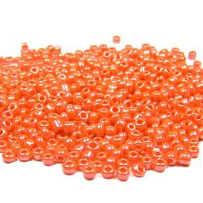 Rocailles, 2mm, opak/lüster, Orange, 20g