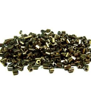Hexagonrocailles, 2mm, metallic-glänzend, Altgold
