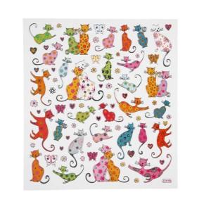 Phantasievolle Aufkleber, 15x16,5 cm, Katzen, 1 Blatt