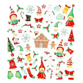 Glittersticker, 15x16,5 cm, Weihnachtswichtel, 1 Blatt