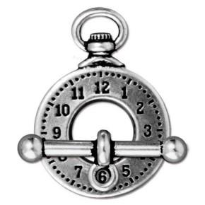 Knebelverschluss, Toggle-Verschluss, Uhr, Antik Vers., 1 Set