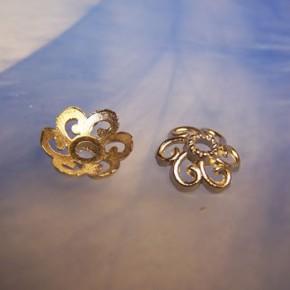 Perlkappe, Metall, Blume, Silberfarben, 1 Stück