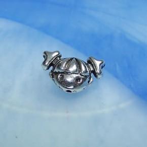 Metallperle, Mädchenkopf, Silberfarben, 1 Stück