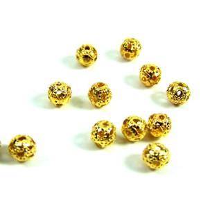 Metallperle, Kugel, Filigrana, Goldfarben-glänzend, 4mm, 50 Stück