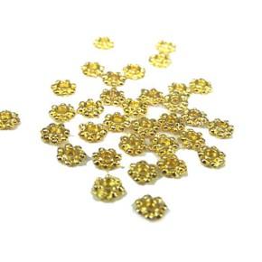 Metallperle, Blümchen, 4mm, Spacer, Goldfarben-Glänzend, 50 Stück