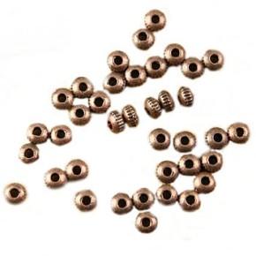 Metallperle, Kugel, Anik Kupferfarben, Streifen, 3x2mm, 50 Stück