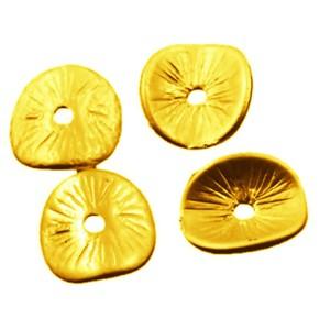 Metallperle,Scheibe, Gewellt, Helles Goldfarben, 9,5mm,50 Stüc