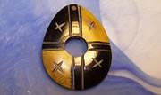 Hornanhänger, Oval, bräunlich-schwarz, 1 Stück
